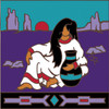 6x6 Tile Native American Woman with Pottery