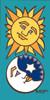 3x6 Tile Sun/Moon Face (Turquoise)
