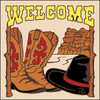 6x6 Tile Welcome Hat & Boots Sand 7938A