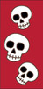3x6 Tile Red Day of the Dead Three Skulls Right End