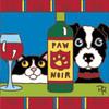 6x6 Tile Paw Noir Cat & Dog