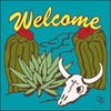 6x6 Tile Welcome Skull & Cactus Turquoise 7941TQ