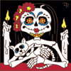 6x6 Tile Day of the Dead Lil' Miss and Kitty