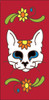 3x6 Tile Red Day of the Dead Cat Sugar Skull End