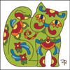 6x6 Tile Talavera Styled Cat White