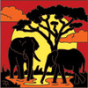6x6 Tile Elephant Sunset Silhouette 8054A