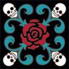 6x6 Tile Day of the Dead  Rose Skull Pattern