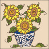 6x6 Tile - Potted Sunflowers