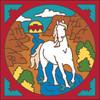 6x6 Tile Horse in Stream Southwest Border