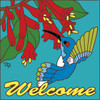 6x6 Tile Welcome Blue Humming Bird Turquoise 7697TQ