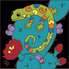 6x6 Tile Southwest Gecko on Prickly Pear Cactus