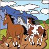6x6 Tile Running Free Wild Horses