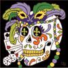 6x6 Tile Day of the Dead Mardi Gras Skull