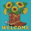 6x6 Tile Welcome Boots with Sunflowers Turquoise 7635TQ