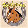6x6 Tile Welcome Horse & Horseshoe Sand 7957A