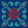 6x6 Tile Talavera Rose Fleur de lis Cobalt