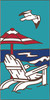 3x6 Tile Adirondack Beach Scene Turquoise