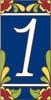 3x6 Tile House Number Cobalt Talavera #1