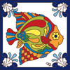 6X6 Tile Tropical Colored Fish