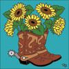 6x6 Tile Boots with Sunflowers 7636TQ