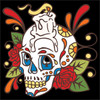 6x6 Tile Day of the Dead Skull with Candle