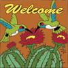 6x6 Tile Welcome Hummingbirds w/ Barrel Cactus Terracotta 7859R