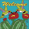 6x6 Tile Welcome Hummingbirds w/ Barrel Cactus Turquoise 7859TQ