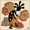 6x6 Tile Kokopelli Playing the Bongo