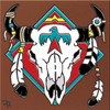 "6X6 Tile Native American Steer Skull ""Naturals"""