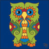 6x6 Tile Talavera Owl II Cobalt