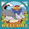 6x6 Tile Welcome Quail Turquoise