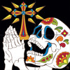 "12""x12"" Tile Mural Day of the Dead Praying Skull"