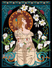 "24""x18"" Tile Mural Art Nouveau Lady Among Lilies"