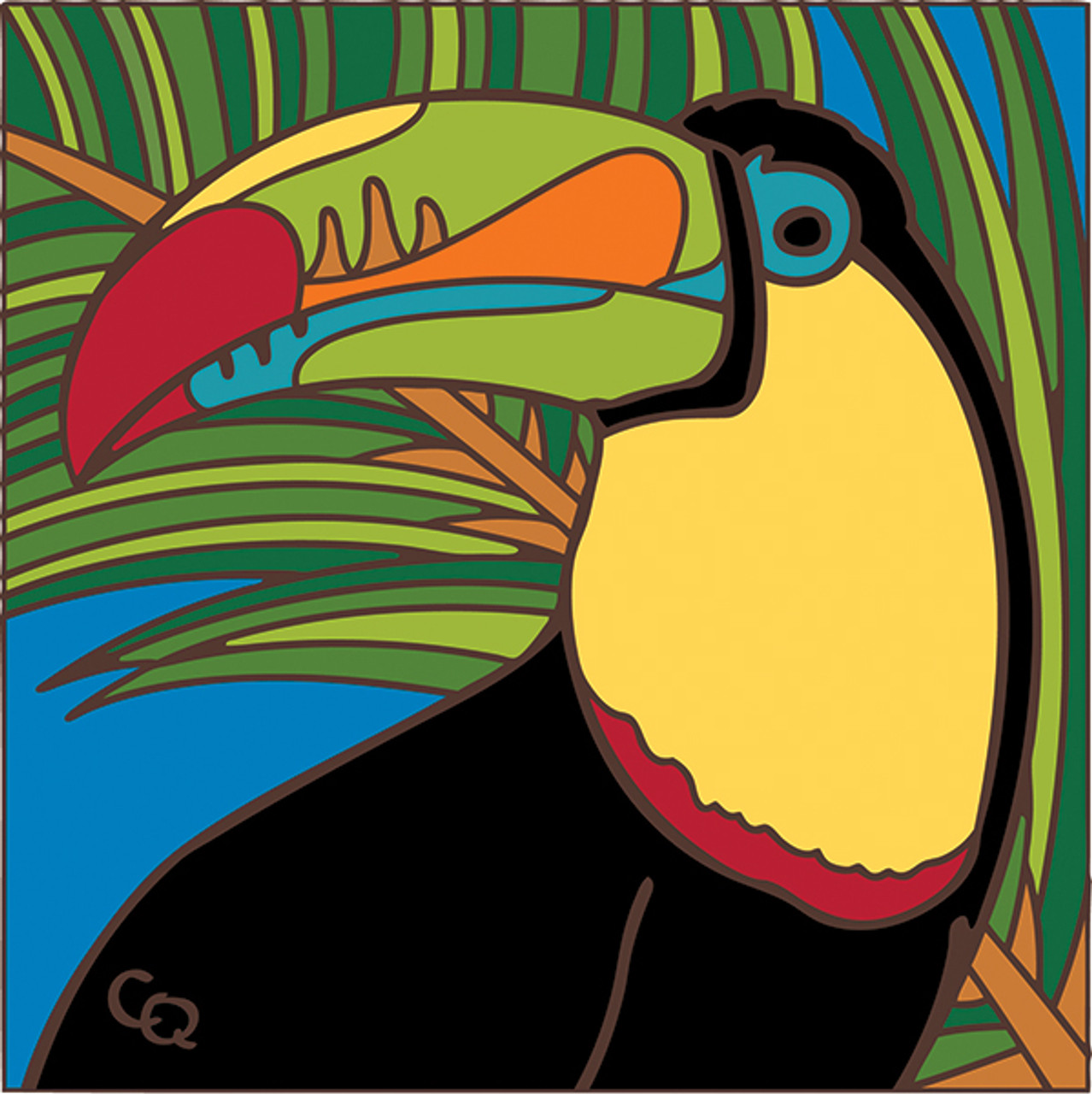 Toucan hand painted ceramic art tile 6 x 6 inches with easel back