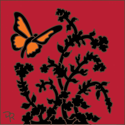 6x6 Tile Butterfly Floral Silhouette