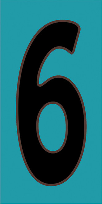 3x6 Tile House Number Turquoise #6