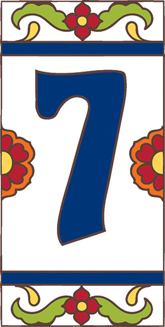 3x6 Tile House Number White Talavera #7