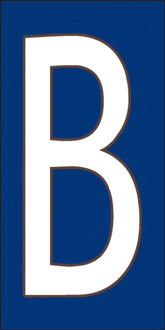 3x6 Tile House Letter B White on Cobalt
