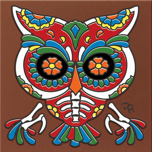 "6X6 Tile Day of the Dead Owl ""Naturals"""