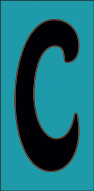3x6 Tile House Letter C Turquoise