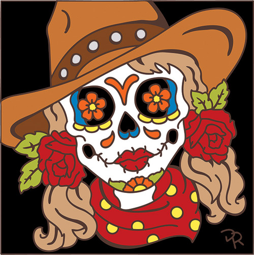 6x6 Tile Day of the Dead Cowgirl 7974A