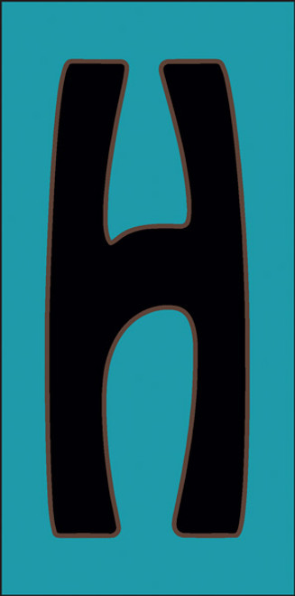 3x6 Tile House Letter H Turquoise