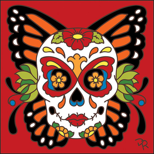 6x6 Tile Day of the Dead Butterfly Sugar Skull 7890A