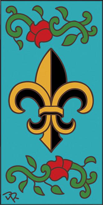3x6 Tile Fleur De Lis Turquoise 3020TQ