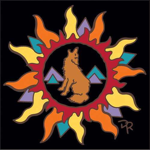 6x6 Tile Southwest Sun with Howling Coyote 8351A