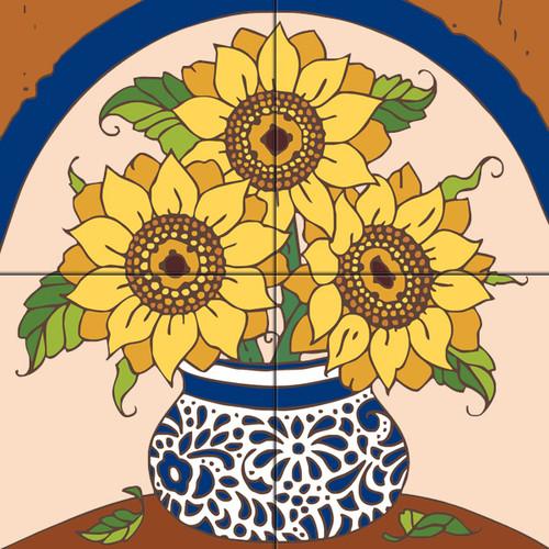 12x12 Tile Mural Sunflowers