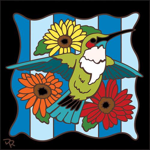 6x6 Tile Hummingbird on Stripes 7592A