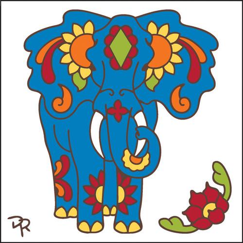 6x6 Tile Talavera Elephant White