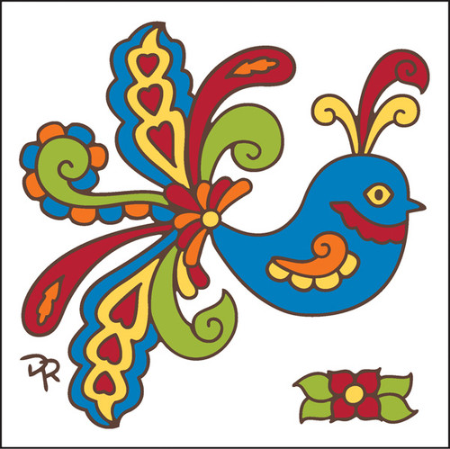 6x6 Tile Talavera Bird White