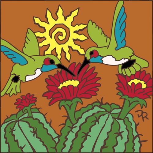 6x6 Tile Hummingbirds w/ Barrel Cactus 7858A